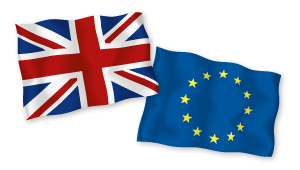 Union Jack and European Union Flag